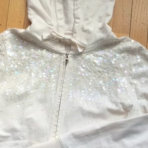 Iridescent sequin zip up hoodie